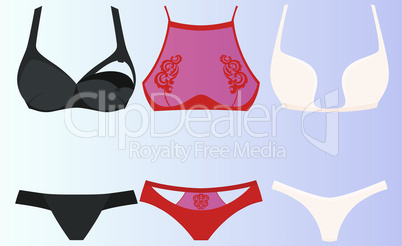mock up illustration of female lingerie set on abstract background