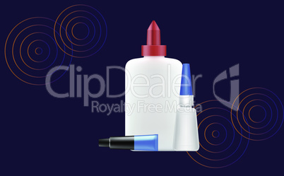 mock up illustration of glue package on abstract background