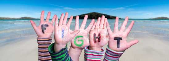 Children Hands Building Word Fight, Ocean Background