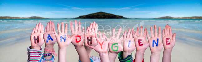 Kids Hands Holding Word Handhygiene Means Hand Hygiene, Ocean Background