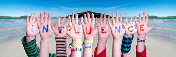 Children Hands Building Word Influence, Ocean Background