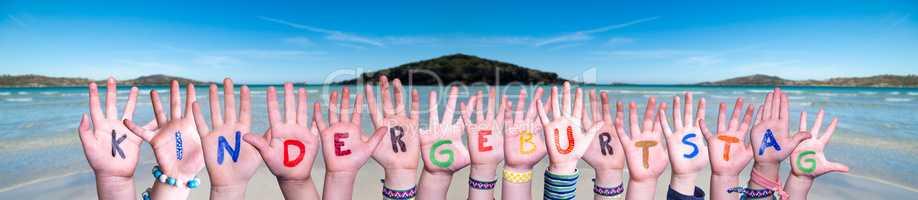 Hands Building Kindergeburtstag Means Childrens Birthday Party, Ocean Background