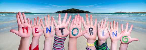 Children Hands Building Word Mentoring, Ocean Background