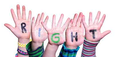 Children Hands Building Word Right, Isolated Background