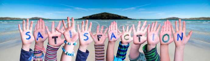 Children Hands Building Word Satisfaction, Ocean Background