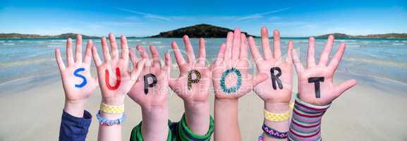 Children Hands Building Word Support, Ocean Background