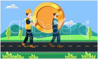 builder carrying a big coin on the road