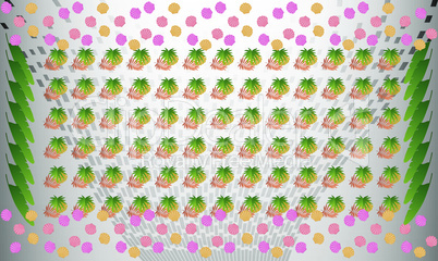 digital textile design of different leaves with borders on abstract background