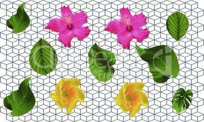 digital textile design with art and flowers