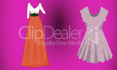 mock up illustration of fashion dress on abstract background
