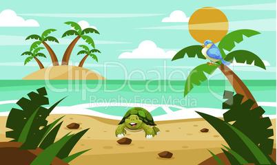 tortoise is enjoying on the beach with birds