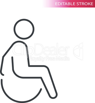 Disabled person in wheelchair thin line icon