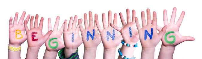 Children Hands Building Word Beginning, Isolated Background