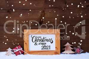 Frame, Gift, Tree, Snowflakes, Merry Christmas And A Happy 2021