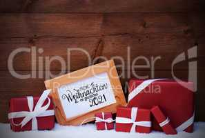 Frame, Red Gift, Snow, Glueckliches 2021 Means Happy 2021