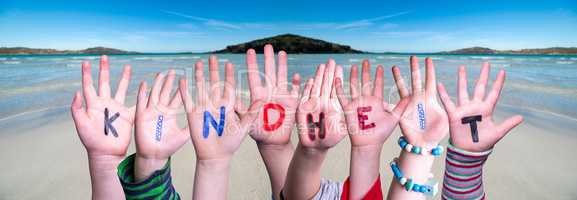 Children Hands Building Word Kindheit Means Childhood, Ocean Background
