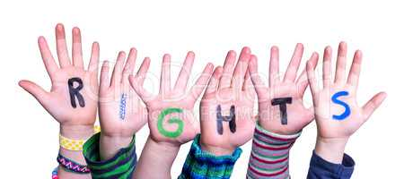 Children Hands Building Word Rights, Isolated Background