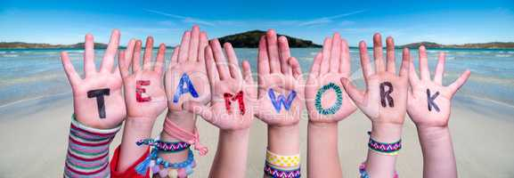 Children Hands Building Word Teamwork, Ocean Background