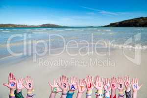 Children Hands, Wir Gratulieren Mean Congratulations, Ocean Background