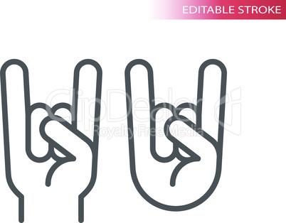 Rock hand gesture thin line vector icon