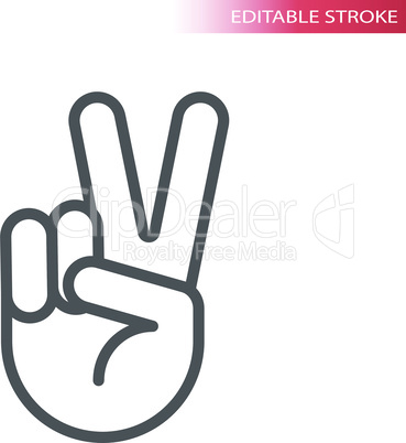 Peace hand gesture thin line vector icon