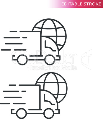 Truck or lorry with globe thin line vector icon