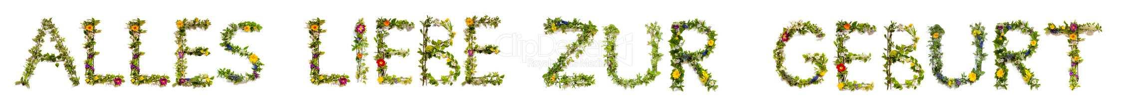 Flower Letter Building Alles Liebe Zur Geburt Means Congratulations To Birth