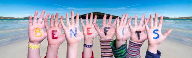 Children Hands Building Word Benefits, Ocean Background