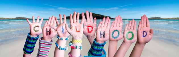 Children Hands Building Word Childhood, Ocean Background