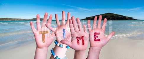 Children Hands Building Word Time, Ocean Background
