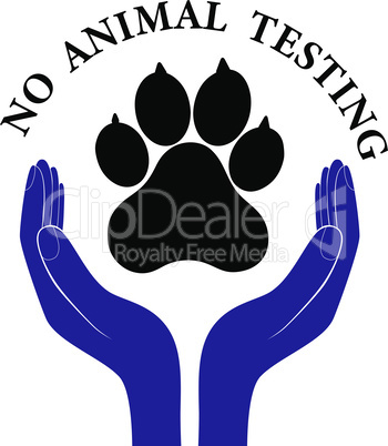 Animal pet protection sign vector hand in people encouragement help. Vector support Life. Health care no testing concept