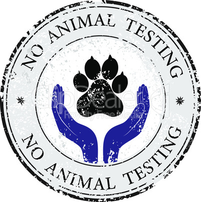 Animal pet protection sign vector hand in people encouragement help. Vector support Life. Health care no testing post stamp
