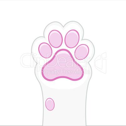 Cat paw background, kitten flat design, prints, cartoon, cute cat foot wallpaper vector illustration
