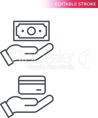 Hand and money, credit card and banknote