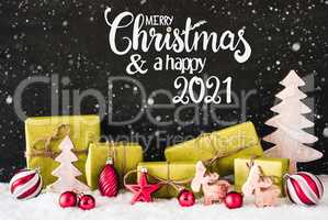 Snowflakes, Gift, Tree, Ball, Merry Christmas And A Happy 2021