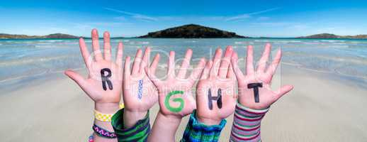 Children Hands Building Word Right, Ocean Background