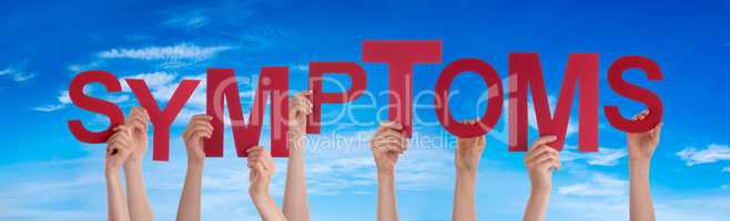 People Hands Holding Word Symptoms, Blue Sky