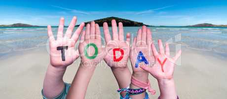 Children Hands Building Word Today, Ocean Background