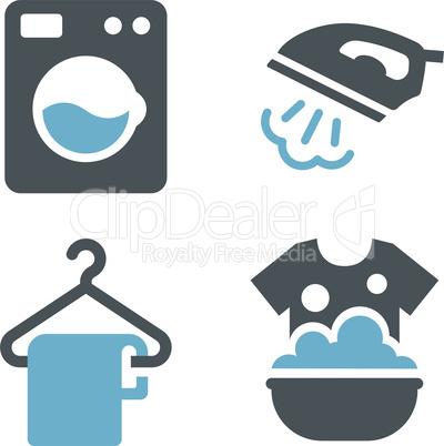 Laundry service black glyph icon set