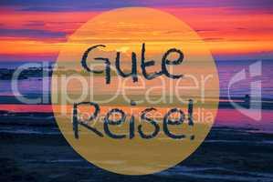 Sunset Or Sunrise At Sweden Ocean, Gute Reise Means Good Trip