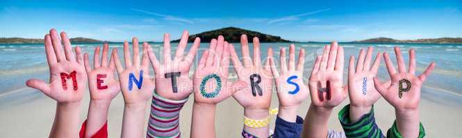 Children Hands Building Word Mentorship, Ocean Background