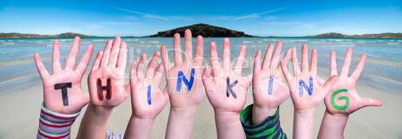 Children Hands Building Word Thinking, Ocean Background