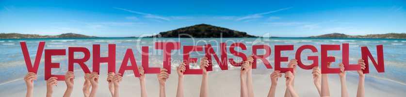 Hands Holding Word Verhaltensregeln Means Code Of Conduct, Ocean Background