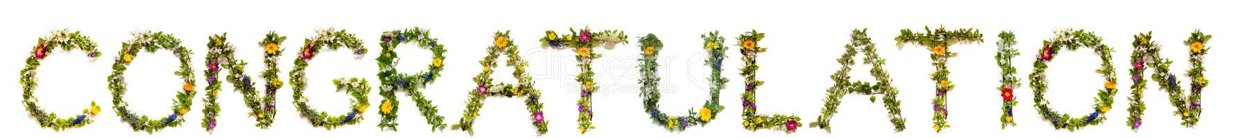 Flower And Blossom Letter Building Word Congratulation