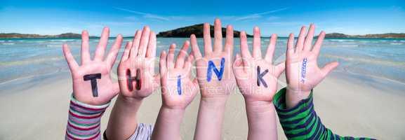 Children Hands Building Word Think, Ocean Background