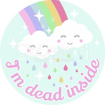 Cloud and rainbow cute vector design
