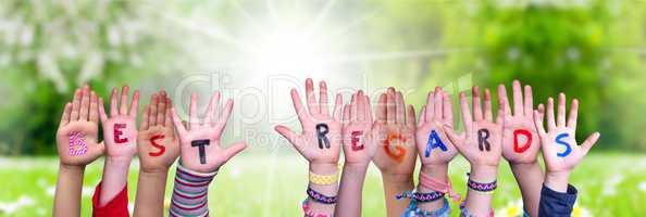 Children Hands Building Word Best Regards, Grass Meadow