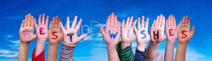 Children Hands Building Word Best Wishes, Blue Sky