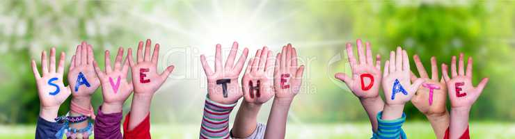 Children Hands Building Word Save The Date, Grass Meadow