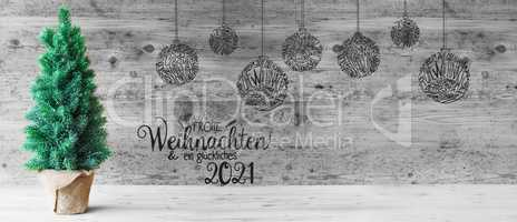 Christmas Tree, Ball, Glueckliches 2021 Means Happy 2021, Black And White